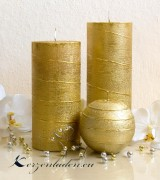 Stumpen Kerze Gold mit Spiraldeko - 15cm