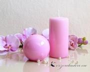 Stumpenkerze Hochglanz lackiert rosa - 12cm
