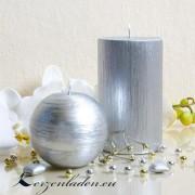 Stumpenkerze Silber patiniert - 12cm