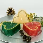 Herz Kerze Weihnachten mit Goldrand creme rot grün