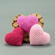 Herzen in 3 Farben pink rot rosa 7cm  - Amigurumi Handmade