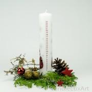 Adventskalender Stumpen Weihnachtsmann weiß 25cm