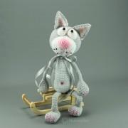 Die graue Katze 40cm Strickware Handmade