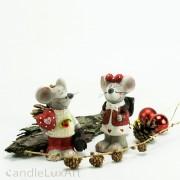 Keramik Maus Weihnachtsfiguren Valentinstag 2er Set 11cm