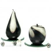 Kerze Apfel und Birne handgeknetet schwarz weiss 7,5-12cm