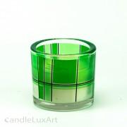Kerze im Rundglas - gruen mit Dekor
