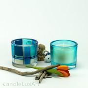 Kerze im Rundglas - 2er Set Dekor blau