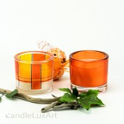 Kerze im Rundglas - 2er Set Dekor orange