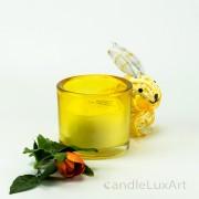 Kerze im Rundglas - gelb ohne Dekor