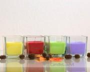 Kerze im Würfel-Glas - 4 Farben