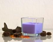 Kerze im Würfel-Glas - Lila