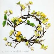 Äste Blüten Kranz gelb-weiß-grün - 30cm
