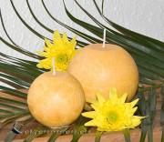 Kristallstearin Kugelkerze 8cm - gelb