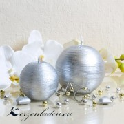 Kugelkerze Silber - patiniert - 8cm