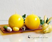 Kugelkerze Glanz lackiert - 8cm - gelb