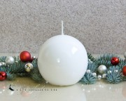 Kugelkerze Hochglanz lackiert - 8cm - weiß
