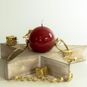 Kugelkerze Glanz lackiert - 8cm - rubinrot
