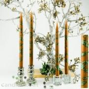 4  Leuchterkerzen braun Dekor grün 35cm