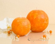 Mosaik Kugelkerze 8cm - orange