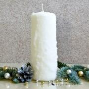 Stumpen-Schneeoptik 18cm - 100% Stearin