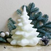 Weihnachtskerze Tanne aus Stearin mit Glitzer
