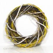 Natur Äste Bast- Osterkranz gewickelt 38cm - gelb