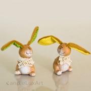 1 Keramik Hase Plüschohr - grün und gelb