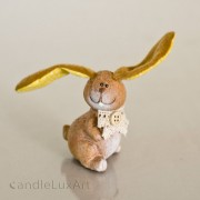 1 Keramik Hase Plüschohr - gelb