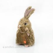 Natur Gras Hase mit Korb Karotte Sack  14cm