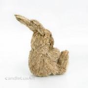 Natur Gras Hase sitzend mit Rucksack - 19cm