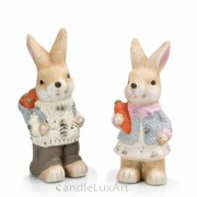 Set Keramik Häsin und Hase mit Korb - 16cm