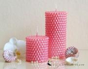 Stumpenkerze Perlen 14,5cm rosa