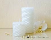 Stumpenkerze Perlen 7cm weiß