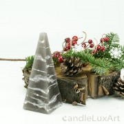 Pyramidenlkerze Tropfendesign - 15cm - grau weis