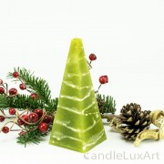 Pyramidenlkerze Tropfendesign - 15cm - olive weis