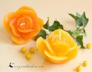 Rosenkerze Rosenblüte gelb