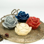Rosenkerze Rosenblüte mir silber oder gold Glitzer