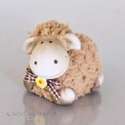 1 Keramik Woll Schaf - braun liegend 7cm