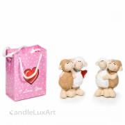 Set Keramik Schaf Paar Love mit Tasche - 10cm