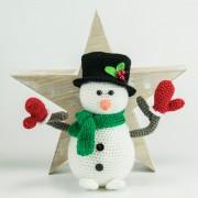 Schneemann 20cm schwarze Mütze Handmade Amigurumi