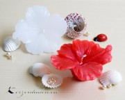 Schwimmkerze - Hibiskusblüte - rot