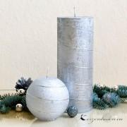 Kugelkerze Silber mit Spirale - 8cm