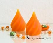 Motiv-Kerze Softeis geriffelte Kerze - Blau / Orange