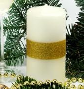 Stumpen Kerze creme - 1 Goldstreifen - 12cm