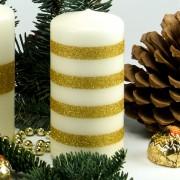 Stumpen Kerze creme - 4 Goldstreifen - 12cm