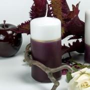 Stumpen Kerze Bordo-Weiß kleine Fläche - 12cm mit Goldstreifen