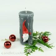 Stumpenkerze Weihnachtsmann 12cm grau