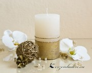Stumpenkerze Royal Goldverzierung - 12cm - creme