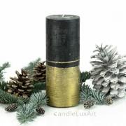 Stumpenkerze Royal schwarz Gold 18cm