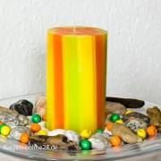 Stumpenkerze - Streifen 12cm 3 farbig orange/kiwi/gelb